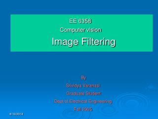 EE 6358                               Computer vision Image Filtering