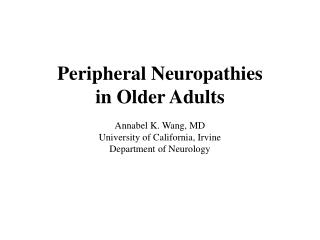 Peripheral Neuropathies in Older Adults