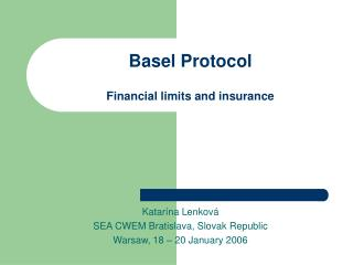 Basel Protocol Financial limits and insurance