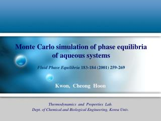 Monte Carlo simulation of phase equilibria  of aqueous systems