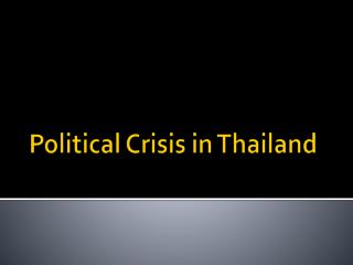 Political Crisis in Thailand
