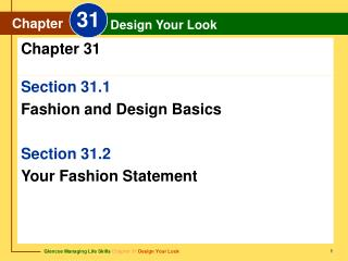Section 31.1 Fashion and Design Basics Section 31.2  Your Fashion Statement