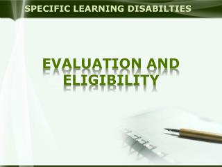 SPECIFIC LEARNING DISABILTIES