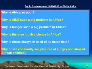 Berlin Conference of 1884-1885 to Divide Africa
