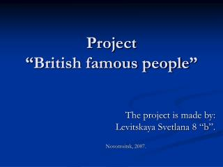 "Project ""British famous people"""
