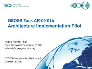 GEOSS Task AR-09-01b  Architecture Implementation Pilot