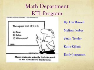Math Department  RTI  Program