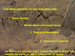 THE MAIN ENEMIES OF ANY BUILDING ARE: