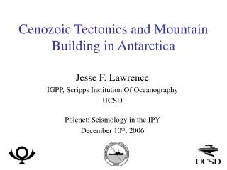 Cenozoic Tectonics and Mountain Building in Antarctica