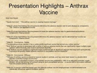 Presentation Highlights – Anthrax Vaccine