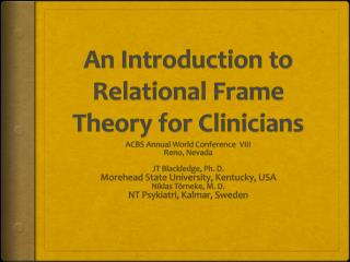 An Introduction to Relational Frame Theory for Clinicians