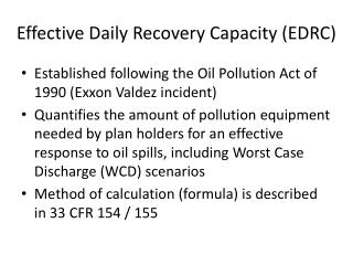 Effective Daily Recovery Capacity (EDRC)