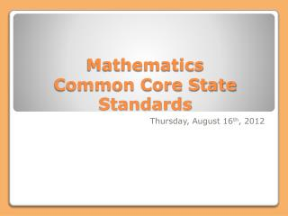 Mathematics Common Core State Standards