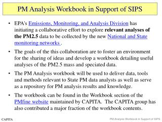 PM Analysis Workbook in Support of SIPS