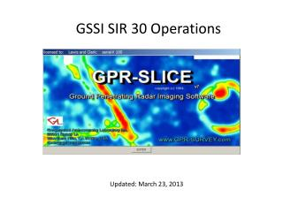 GSSI SIR 30 Operations
