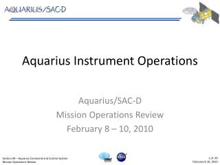 Aquarius Instrument Operations