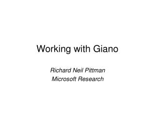 Working with Giano