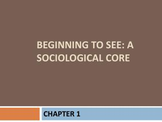 Beginning to see: a sociological core