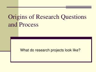 Origins of Research Questions and Process