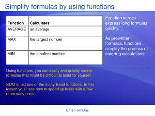 Simplify formulas by using functions
