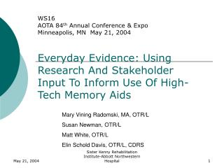 Everyday Evidence: Using Research And Stakeholder Input To Inform Use Of High-Tech Memory Aids