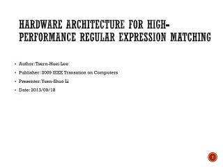 Hardware Architecture for High-Performance Regular Expression Matching