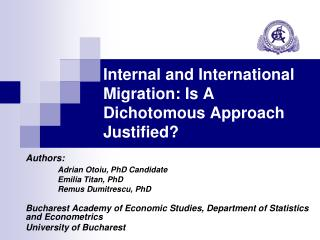 Internal and International Migration: Is A Dichotomous Approach Justified?