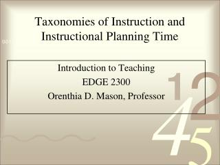 Taxonomies of Instruction and Instructional Planning Time
