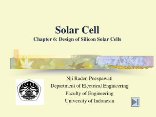 Solar Cell Chapter 6: Design of Silicon Solar Cells