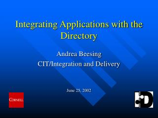 Integrating Applications with the Directory