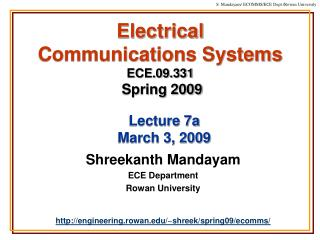 Electrical  Communications Systems ECE.09.331 Spring 2009