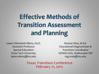 Effective Methods of Transition Assessment and Planning