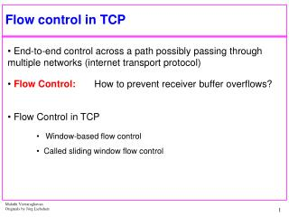 Flow control in TCP