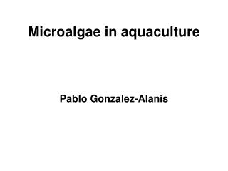 Microalgae in aquaculture