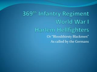 369 th  Infantry Regiment World War I Harlem Hellfighters