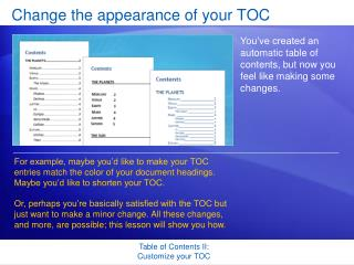 Change the appearance of your TOC