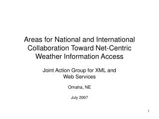 Areas for National and International Collaboration Toward Net-Centric Weather Information Access