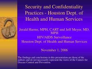 Security and Confidentiality Practices - Houston Dept. of Health and Human Services