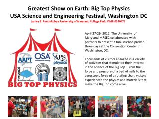 Greatest Show on Earth: Big Top Physics USA Science and Engineering Festival, Washington DC