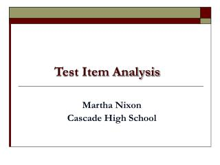 Test Item Analysis
