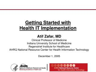 Getting Started with  Health IT Implementation