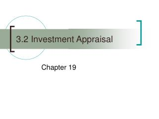 3.2 Investment Appraisal