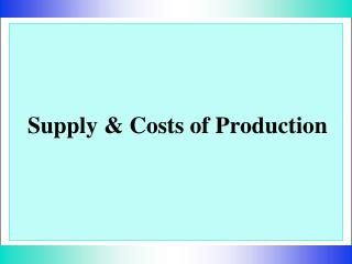 Supply & Costs of Production