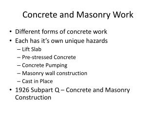 Concrete and Masonry Work