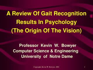 A Review Of Gait Recognition Results In Psychology      (The Origin Of The Vision)