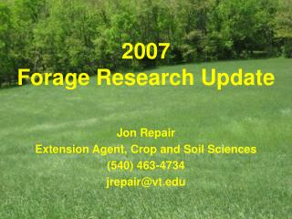 2007  Forage Research Update