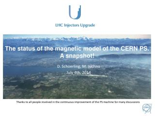 The status of the magnetic model of the CERN PS. A snapshot!