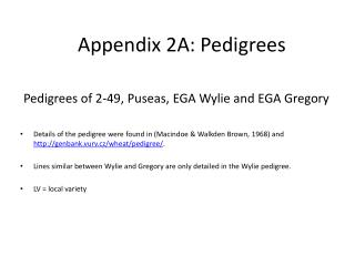 Pedigrees of 2-49, Puseas, EGA Wylie and EGA Gregory