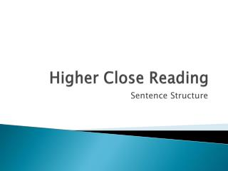 Higher Close Reading