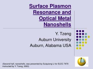 Surface Plasmon Resonance and Optical Metal Nanoshells